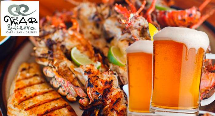 Parrillada de Carne o Pescado + 2 Bebidas en The Mar y Tierra para 2 Pax, sólo 6€/persona!!