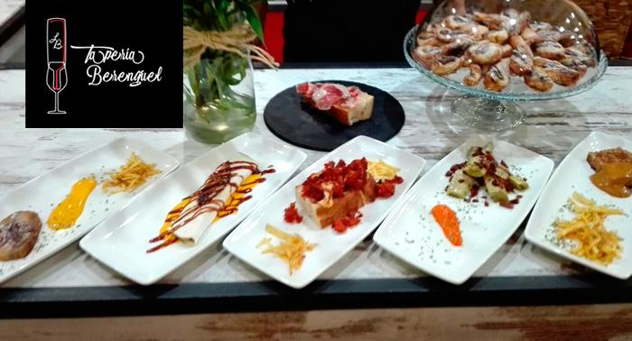 ¡A comer! 5 Tapas + Zapata de Jamón Ibérico con Jarra de Cerveza de 1L o Botella de Vino Acón
