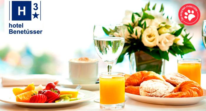 Alojamiento + Desayuno Buffet para 2 en Hotel Benetusser en Valencia