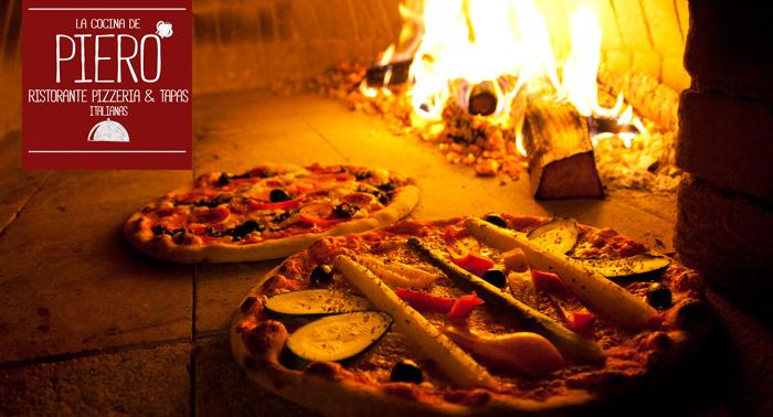 Comida Italiana para 2: Pizzas + Bebidas en La Cocina de Piero, nuevo Ristorante en el Centro