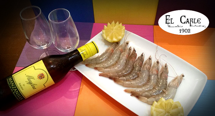 1/2 Ración Gambas o Langostinos Cocidos + 4 Cañas o Manzanillas + 4 Tapas en Bar El Cable