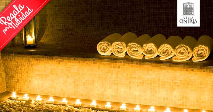 Regala relax y bienestar en Navidad:Circuito Spa para 2 con opción Masaje en Hotel Villa Oniria