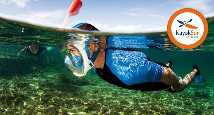 Ruta 3 hrs en Kayak Arrecife las Sirenas - Cabo de Gata + easy-breath (snorkel) + fotos
