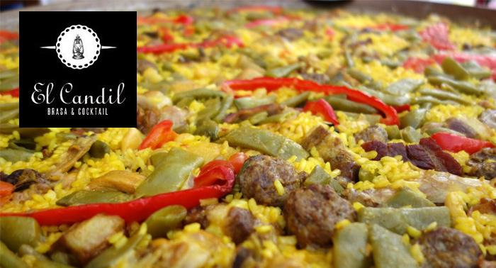 Para 2: Paella de carne o Vegana o Arroz negro con alioli de curry verde + 2 bebidas, El Candil