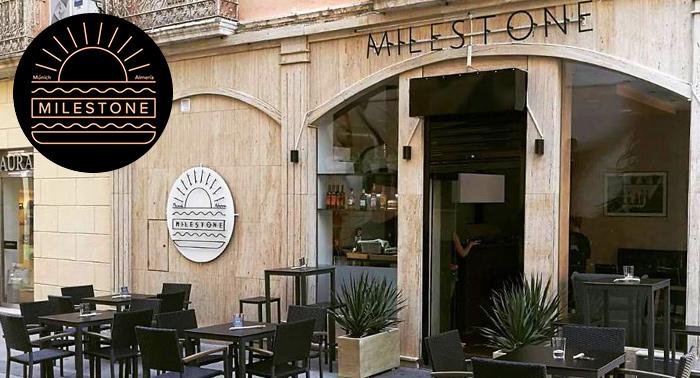 Completo menú a compartir para 2 pax con postre y bebidas en Milestone, en el centro de Almería