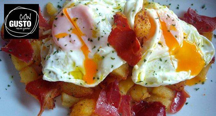 Deliciosa Ración de Huevos estrellados + 2 tapas + 2 cañas por sólo 7€