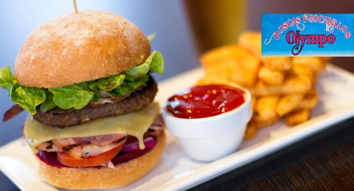 Para 2 personas: Menú con Entrante, hamburguesa o rosca + 2 bebidas + 2 Mojitos desde 11.50€