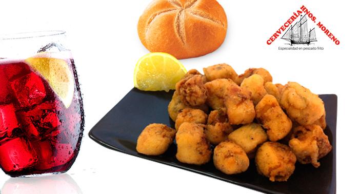 Jarra de cerveza o tinto de verano de un litro, plato de japutas y plato de calamares!!!