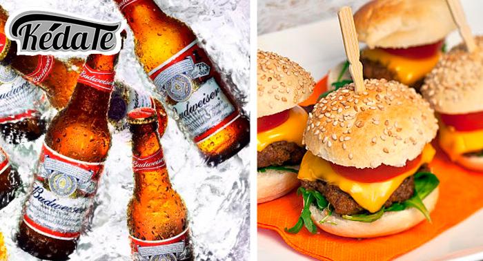 Cubo 8 tercios Budweiser + 1 ración + 4MiniBurger, delicioso plan!!!!!