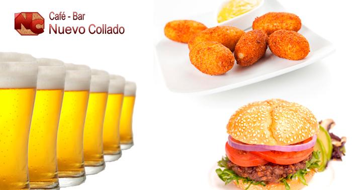 Estamos de fiesta!!! 4 tapas + 4 bebidas + 1 ración de patatas con huevo y pimientos fritos
