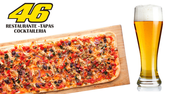 La mejor comida italiana al mejor precio: más de medio metro de pizza!! con 2 bebidas y 2 cafés