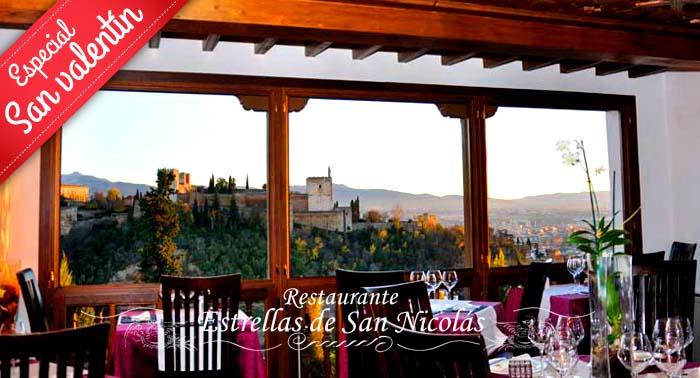 Regala un Menú gourmet con vistas a la Alhambra para 2 en el Rest. Estrellas de San Nicolas