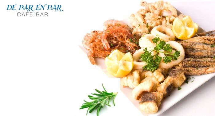 2 Bebidas + 2 Tapas + Ración para 2: fritura, parrillada pescado o huevos estrellados con jamón