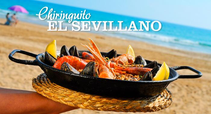 Planazo en la playa! Para 2 personas: Paella de marisco + 2 Bebidas en Chiringuito El Sevillano