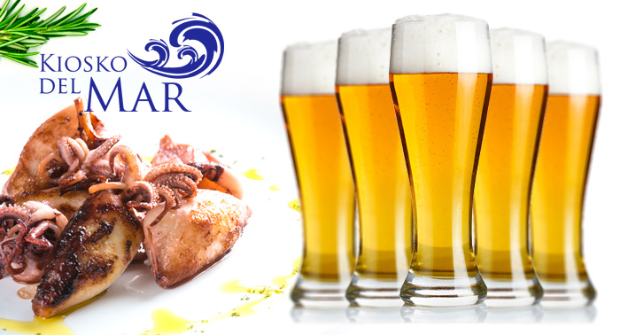 ¡Planazo! 2 Jarras de 1L de Cerveza o Tinto de Verano + 12 Tapas en Kiosko del Mar