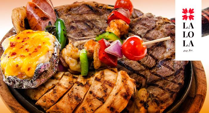 1/2 Parrillada de carne o de Verduras + 2 Bebidas + 2 Tapas, ¡LaLola!