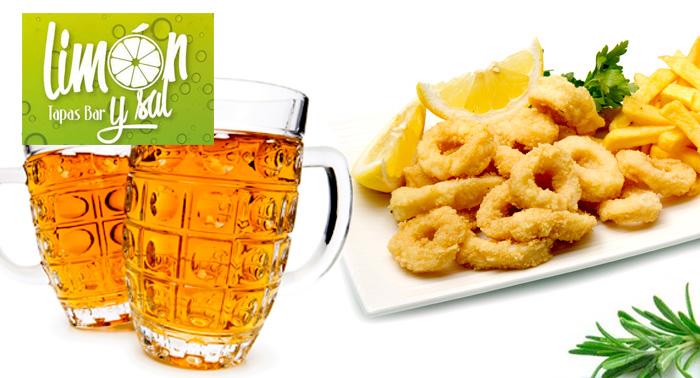 2 Bebidas + 2 Tapas + Ración de Fritura de Pescado del Día en Bar Limón y Sal