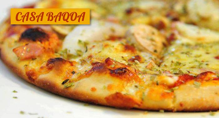 Menú Italiano para 2 en Casa Baqoa: 2 Bebidas + 2 Tapas + 2 Pizzas + 2 Postres Caseros