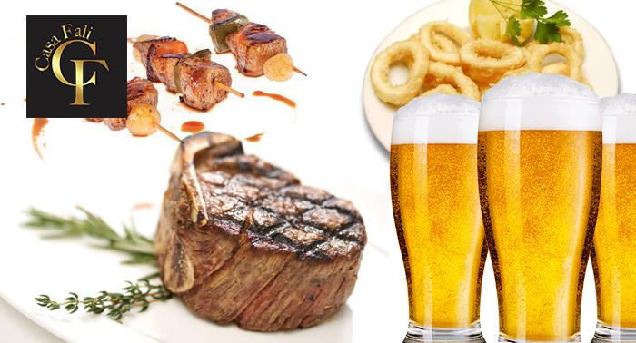 La mejor carne a la brasa en Casa Fali: 5 cañas o tintos de verano + 5 tapas