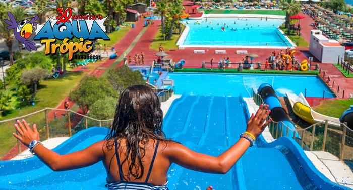 Este verano diversión asegurada en AquaTrópic, 1 entrada adulto + 1 entrada niño por sólo 24€