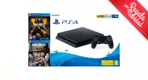 Máxima capacidad y diversión con la Consola Sony PS4 1TB + Call of Dutty... ¡y Feliz Navidad!
