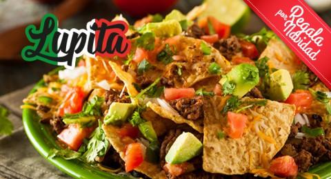 Sabor a México para 2 pax: Nachos + 2 Burritos o Quesadillas + Bebidas en Restaurante La Lupita