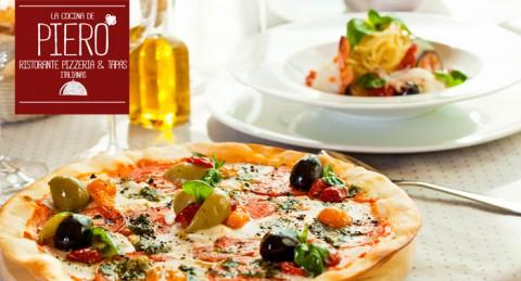 Comida Italiana para 2 pax: Pizzas + Bebidas en La Cocina de Piero en pleno Centro de Almería