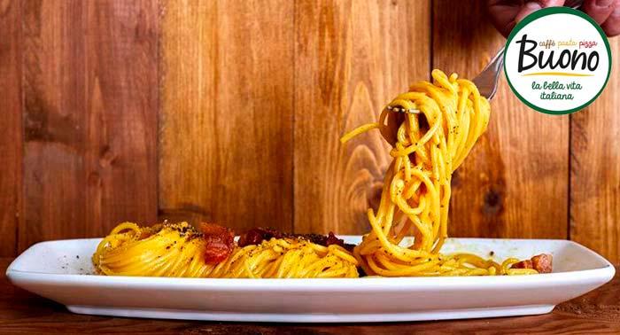 ¡Delicioso Menú Italiano para 2 pax! Entrante + 2 Principales + 2 Bebidas en Restaurante Buono