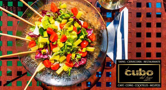 ¡Cena Romántica! Menú Italiano para 2 personas en El Cubo del Lago de la Plaza del Mar